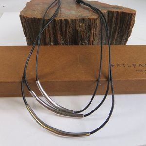 Silpada N1571 Leather Sterling Tubes Necklace